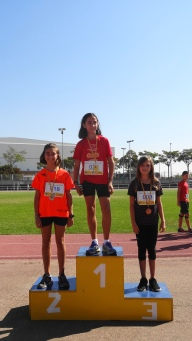 Salto de longitud: 1ª Sandra Montalbán, 2ª Catalina Meco, 3ª Carla Sánchez
